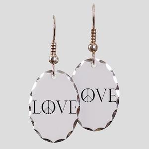 Love Peace Sign Earring Oval Charm