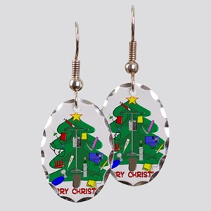 Merry Christmas Medical Earring Oval Charm