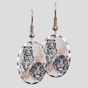 White Tigers Trans Earring Oval Charm