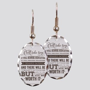 worth it quote Earring Oval Charm