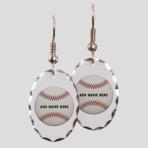 Baseball Name Customized Earring Oval Charm