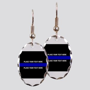 Thin Blue Line Customized Earring Oval Charm
