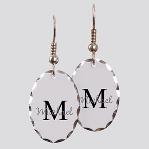 Customize Monogram Initials Earring Oval Charm