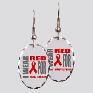 Red Awareness Ribbon Customized Earring Oval Charm