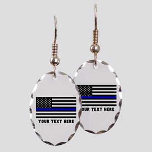 Thin Blue Line Flag Earring Oval Charm