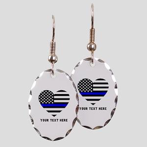 Thin Blue Line Love Earring Oval Charm