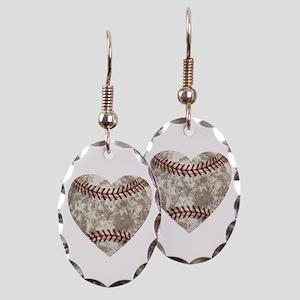 Baseball Vintage Distressed Earring Oval Charm
