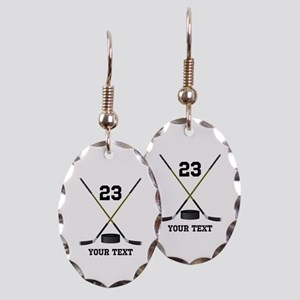 Ice Hockey Personalized Earring Oval Charm