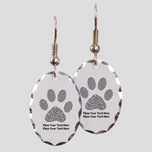 Dog Paw Print Personalized Earring Oval Charm