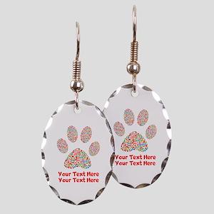 Dog Paw Print Customize Earring Oval Charm