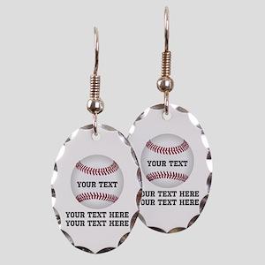 Baseball Earring Oval Charm