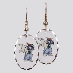 Bunny with Flowers Earring Oval Charm