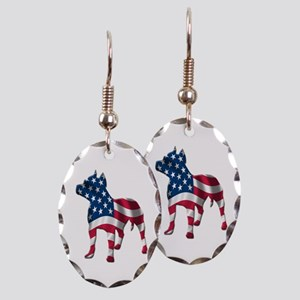 Patriotic Pit Bull Design Earring Oval Charm