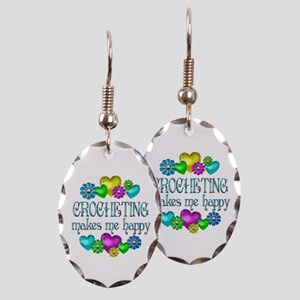 Crocheting Happiness Earring Oval Charm