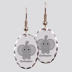 Personalized Elephant Design Earring Oval Charm