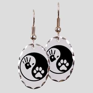 Human & Dog Yin Yang Earring Oval Charm