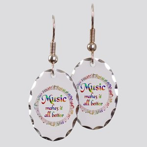 Music Makes it Better Earring Oval Charm