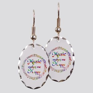 Music makes me Happy Earring Oval Charm