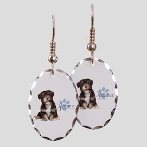 Havanese Puppy Earring Oval Charm
