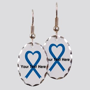 Personalized Blue Ribbon Heart Earring Oval Charm