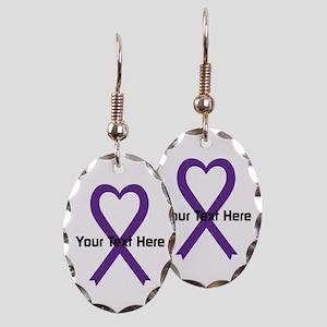Personalized Purple Ribbon Hear Earring Oval Charm