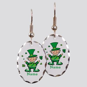Personalized Wee Leprechaun Earring Oval Charm