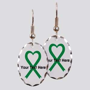 Personalized Green Ribbon Heart Earring Oval Charm