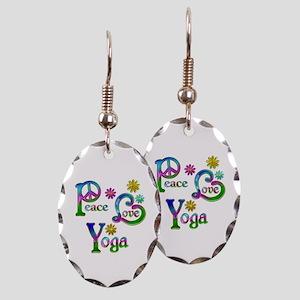 Peace Love Yoga Earring Oval Charm