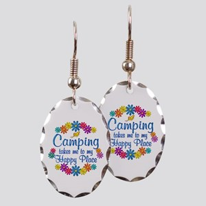 Camping Happy Place Earring Oval Charm