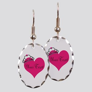 Personalizable Pink Heart with Crown Earring