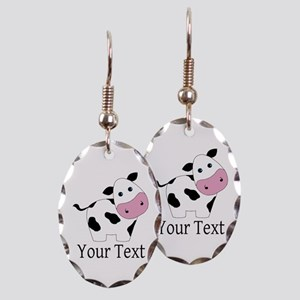 Personalizable Black and White Cow Earring