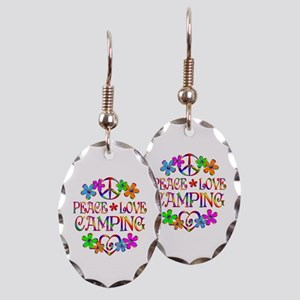 Peace Love Camping Earring Oval Charm