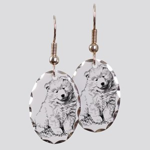 Samoyed Puppy Earring Oval Charm