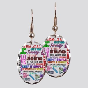 12 STEP SLOGANS IN COLOR Earring Oval Charm