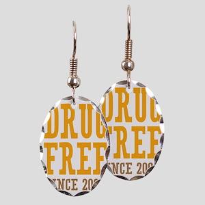 Drug Free Since 2005 Earring Oval Charm