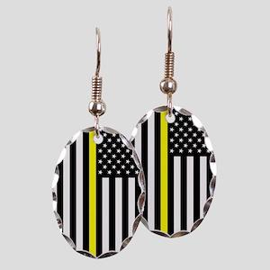 U.S. Flag: Thin Yellow Line Earring Oval Charm
