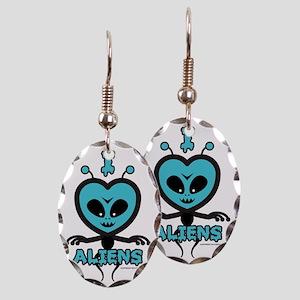 I Heart Aliens Earring Oval Charm