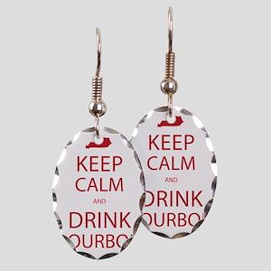 Keep Calm and Drink Bourbon Earring Oval Charm