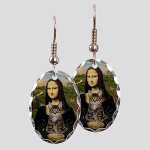 Mona's Tiger Cat Earring Oval Charm