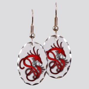 Norse Dragon - Red Earring Oval Charm
