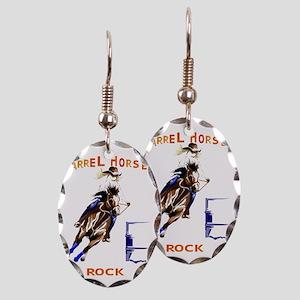 Barrel Horses Rock Trans Earring Oval Charm