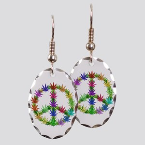 Rainbow Peace Marijuana Leaf Art Earring Oval Char