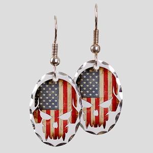 American Flag Skull Earring Oval Charm