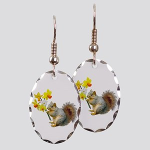 Squirrel Daffodils Earring Oval Charm