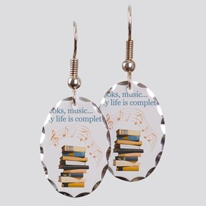 Books and music Earring Oval Charm