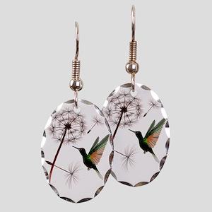 Dandelion and Hummingbird Trans Earring Oval Charm