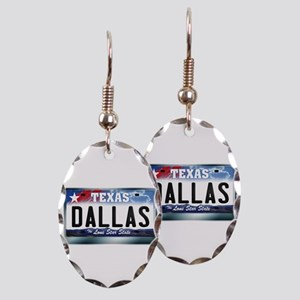 Texas License Plate [DALLAS] Earring Oval Charm