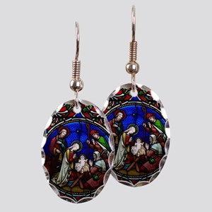 Stained Glass Nativity Earring Oval Charm