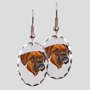 Boxer Art Portrait Earring Oval Charm