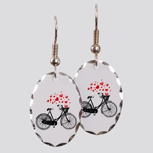 Vintage Bike With Hearts Earring Oval Charm